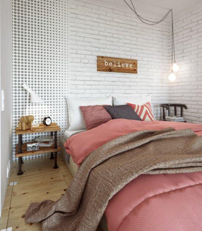 dormitorio diseño detalles ladrillos blancos pintados