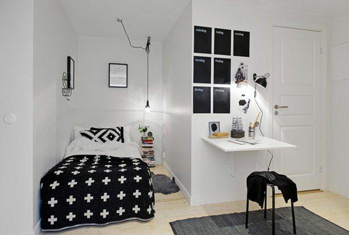 dormitorio diseño detalles negro blanco cruces