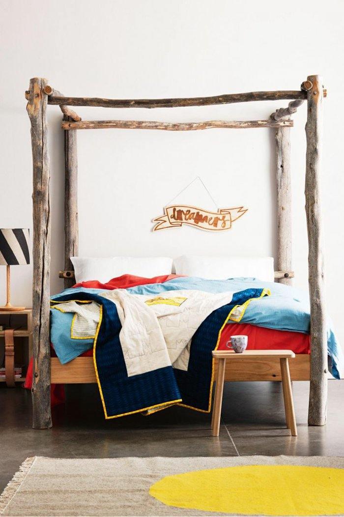 dormitorio diseño detalles rustico alfombras cama