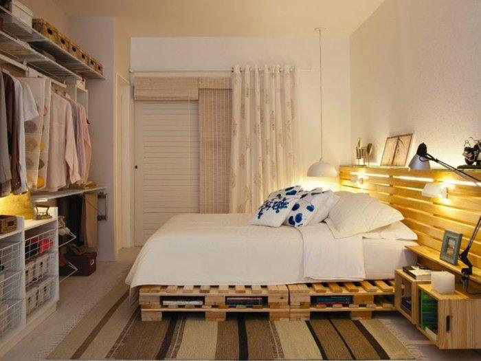 dormitorio diseño palets luces diy