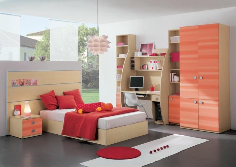 dormitorio infantil muebles color coral