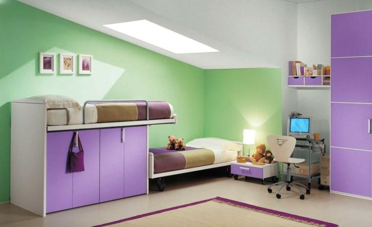 dormitorio infantil color violeta verde