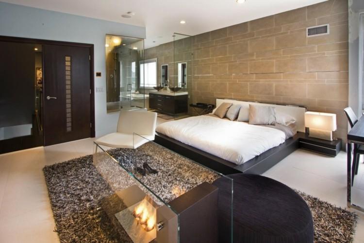 dormitorio lujoso moderno chimenea bioetanol