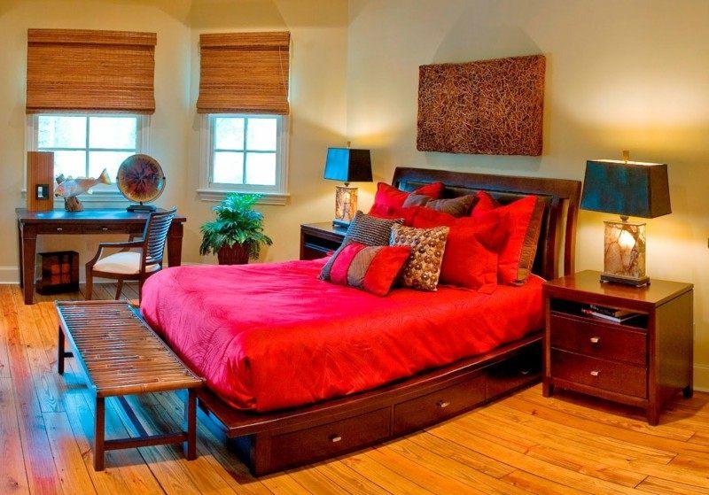 dormitorio madera cama roja deco