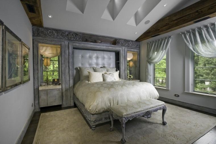 dormitorio muebles madera acabados color gris ideas
