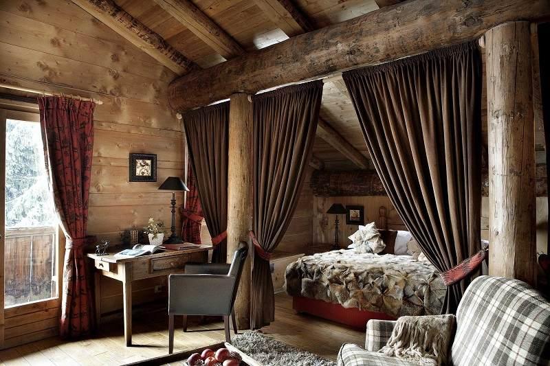 Decoracion de dormitorios rusticos madera y piedra - Cortinas estilo rustico ...
