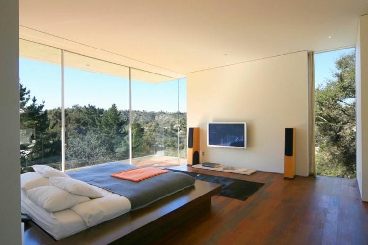 dormitorio vistas bosque estilo moderno