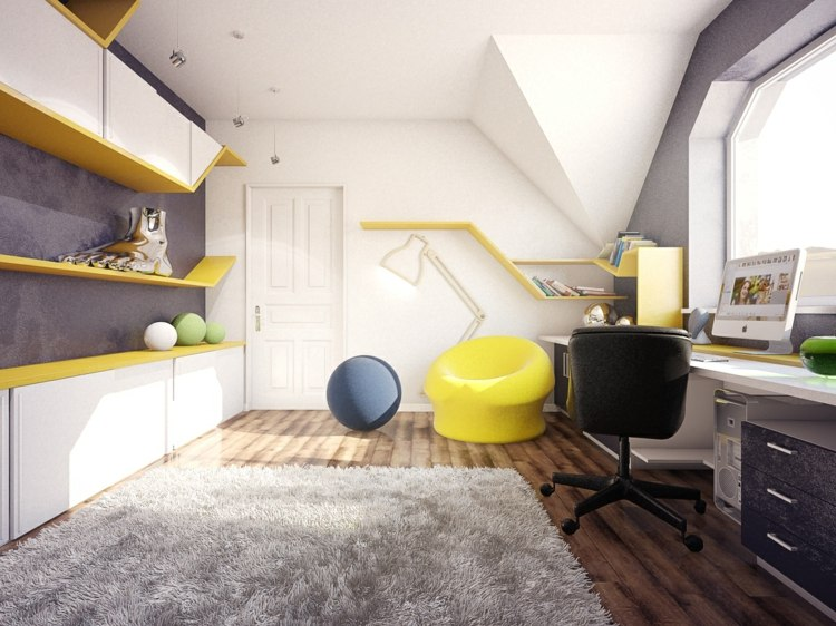 dormitorios juveniles modernos decorado amarillo negro