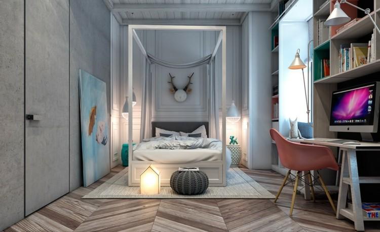 dormitorios juveniles modernos decorado lamparas grises