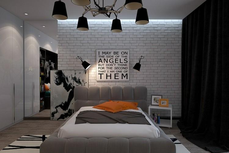 dormitorios juveniles modernos decorado naranja grises