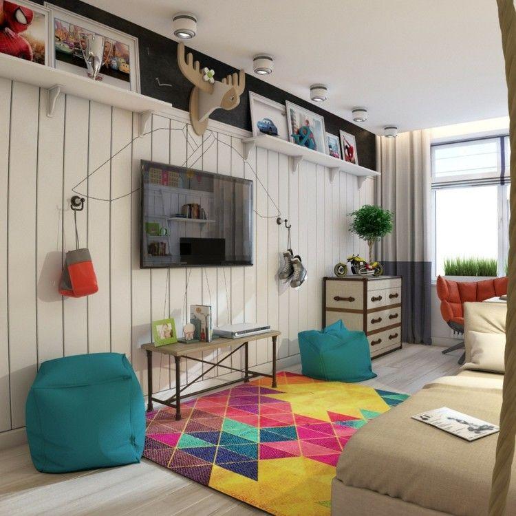 dormitorios juveniles modernos decorado puff ramas