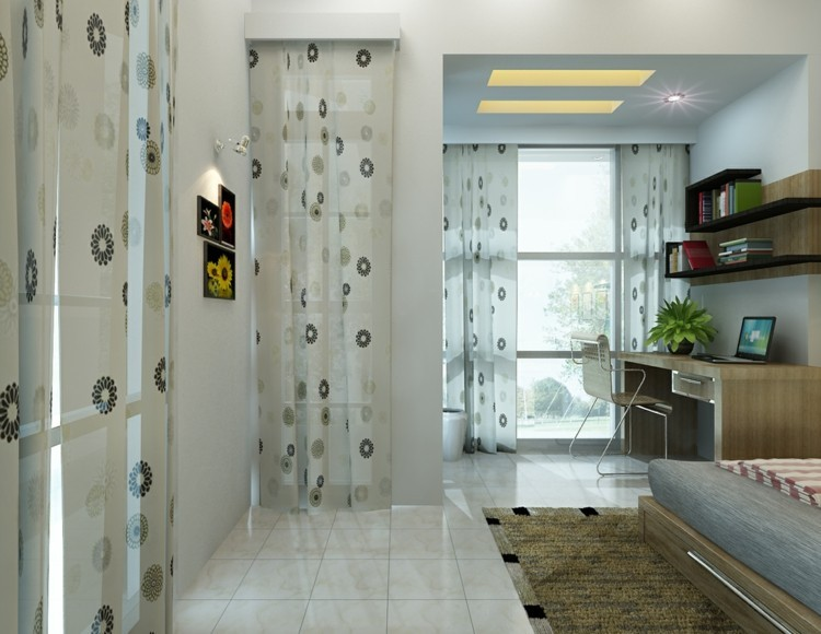 dormitorios juveniles modernos flores cortinas