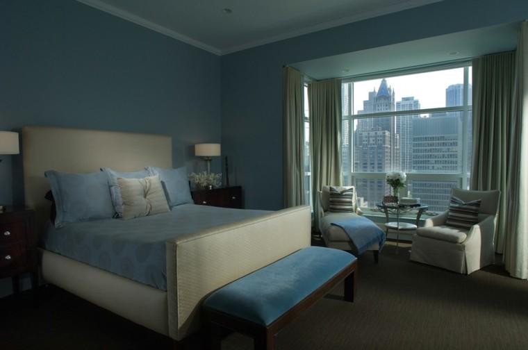 dormitorios matrimonio moderno banco azul terciopelo ideas