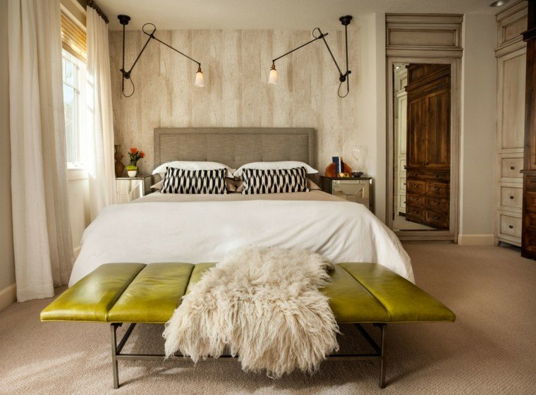 dormitorio matrimonio moderno banco cuero verde ideas