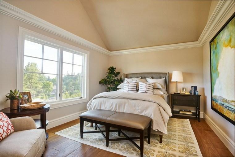 dormitorios matrimonio modernos banco cuero ideas