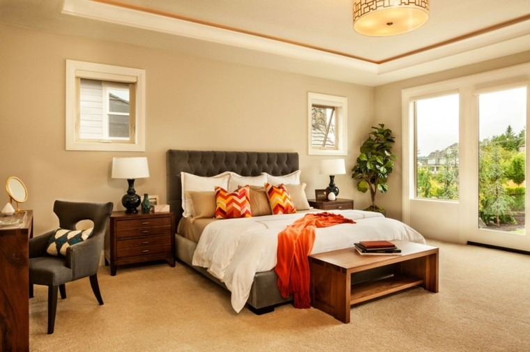 dormitorio matrimonio moderno plantas bancos madera ideas