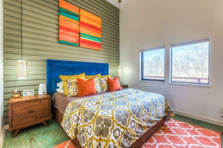 dormitorio matrimonio moderno respaldo azul pared verde vintage ideas