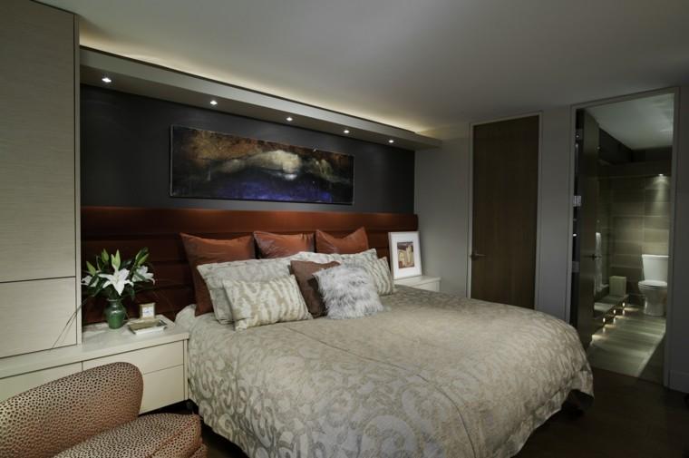 dormitorio matrimonio moderno respaldo cama rojo ideas