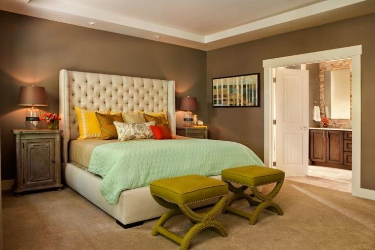dormitorio matrimonio moderno taburetes verdes ideas