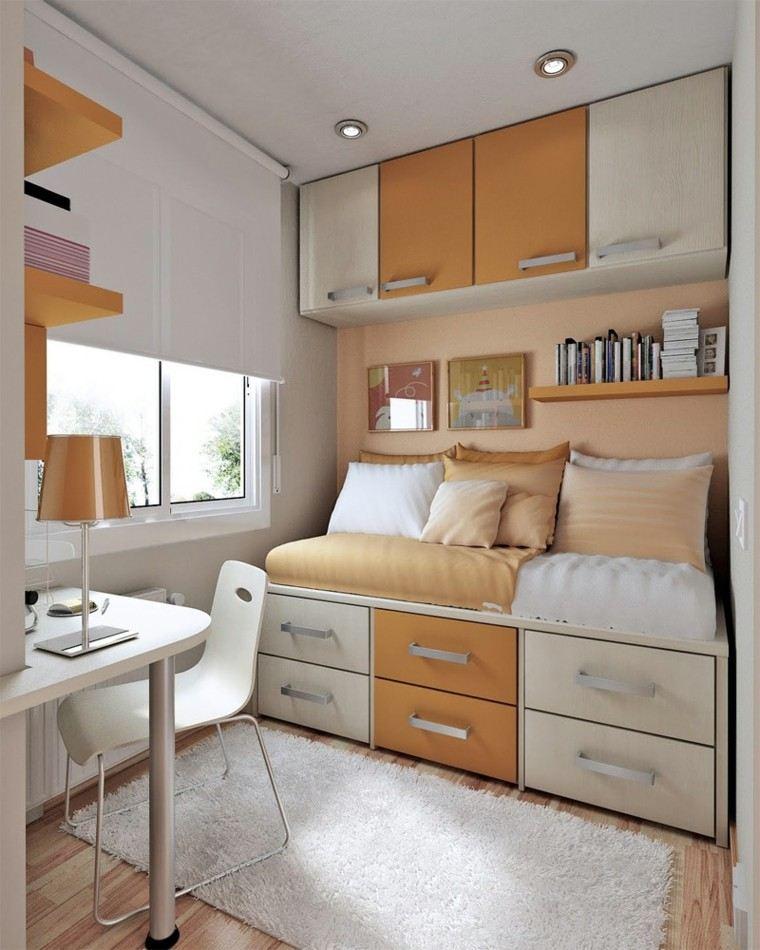 dormitorios pequeños color beige naranja