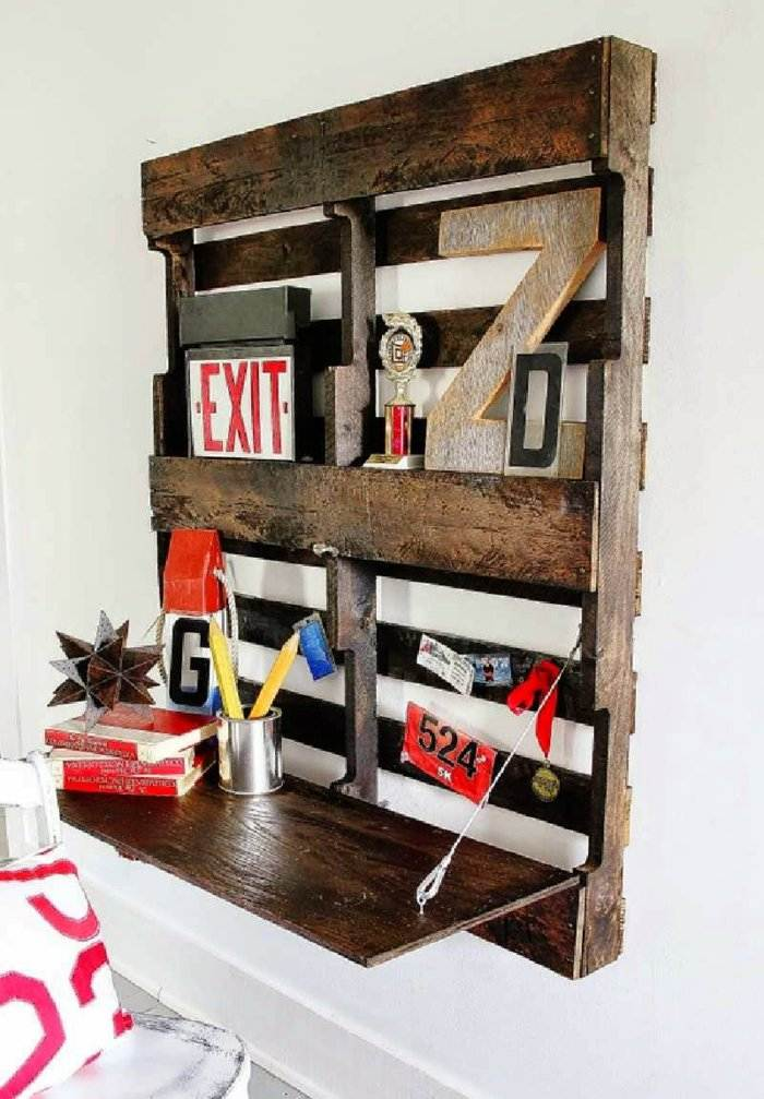 escritorio pared pallet madera