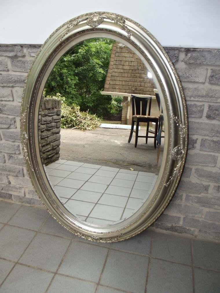 espejo retro grande forma ovalada