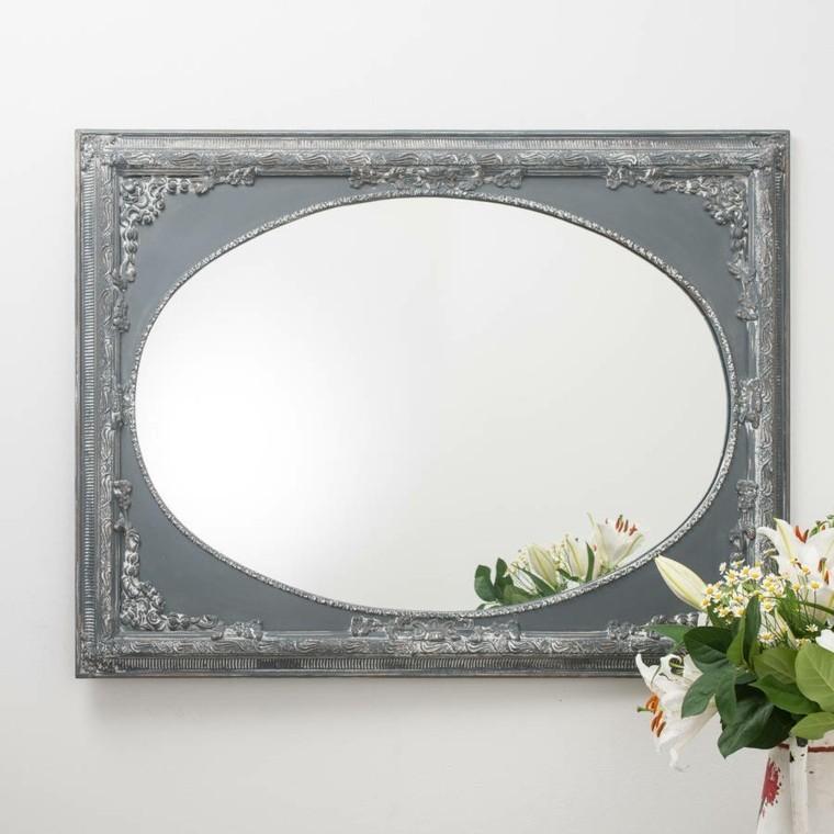 espejo ovalado marco forma rectangular