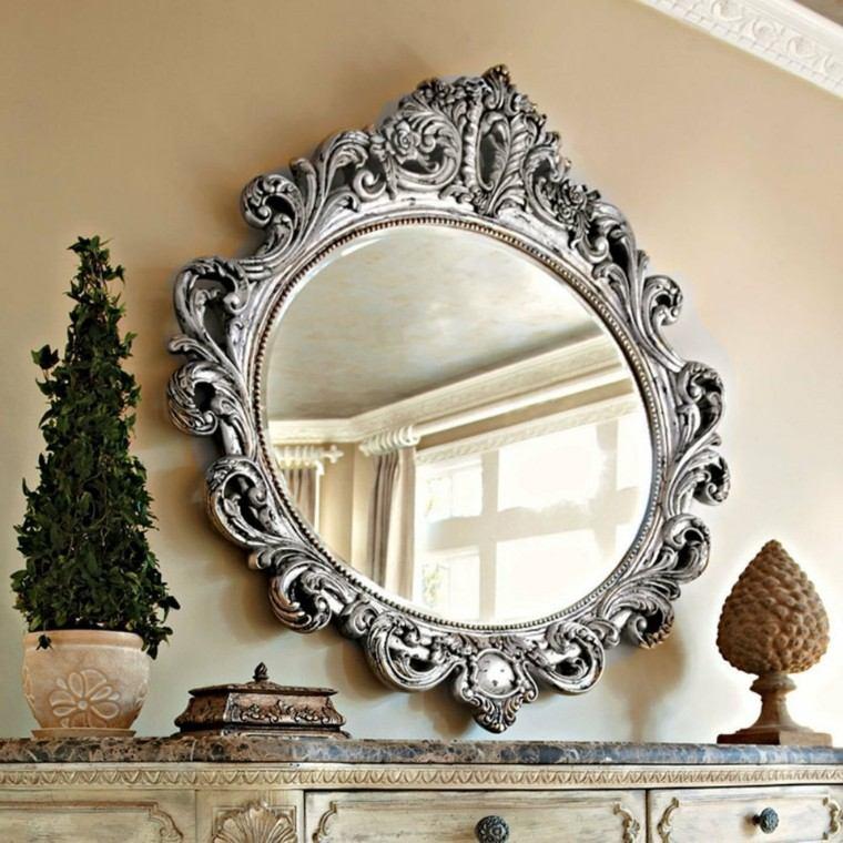espejo redondo marco estilo retro