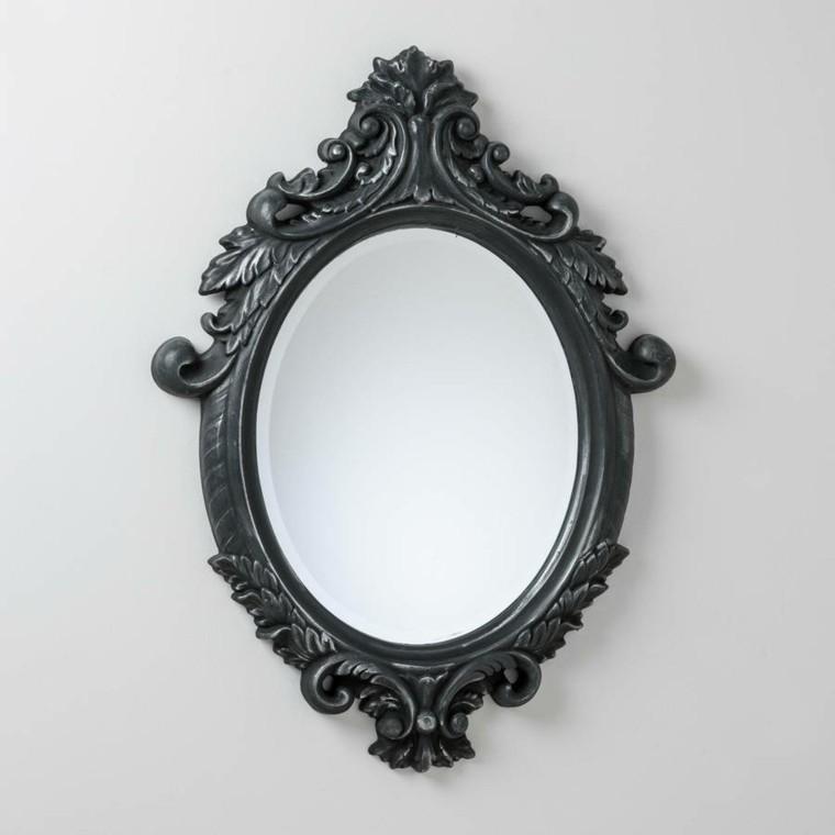 espejo retro de color gris
