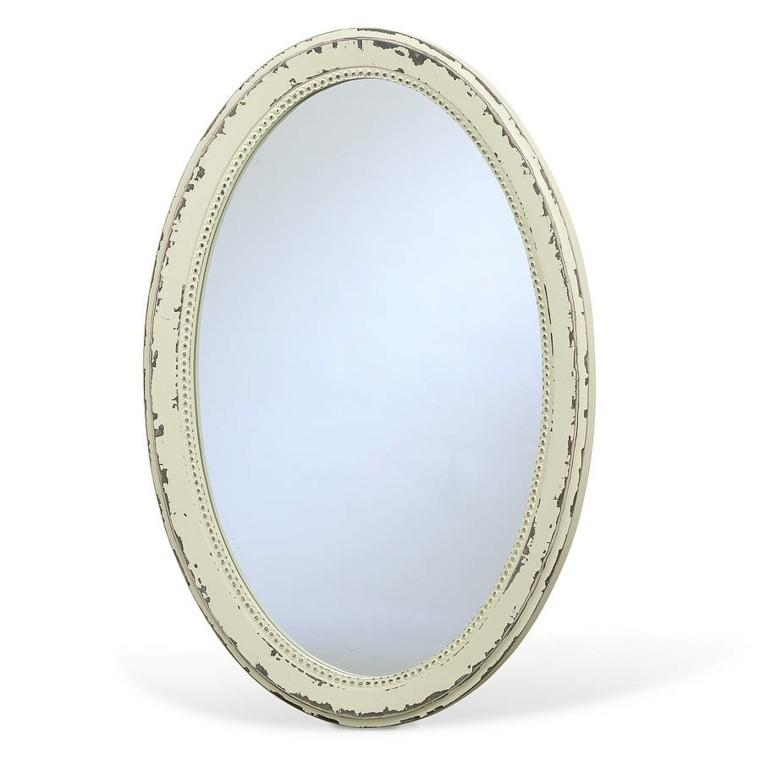espejo retro ovalado marco blanco