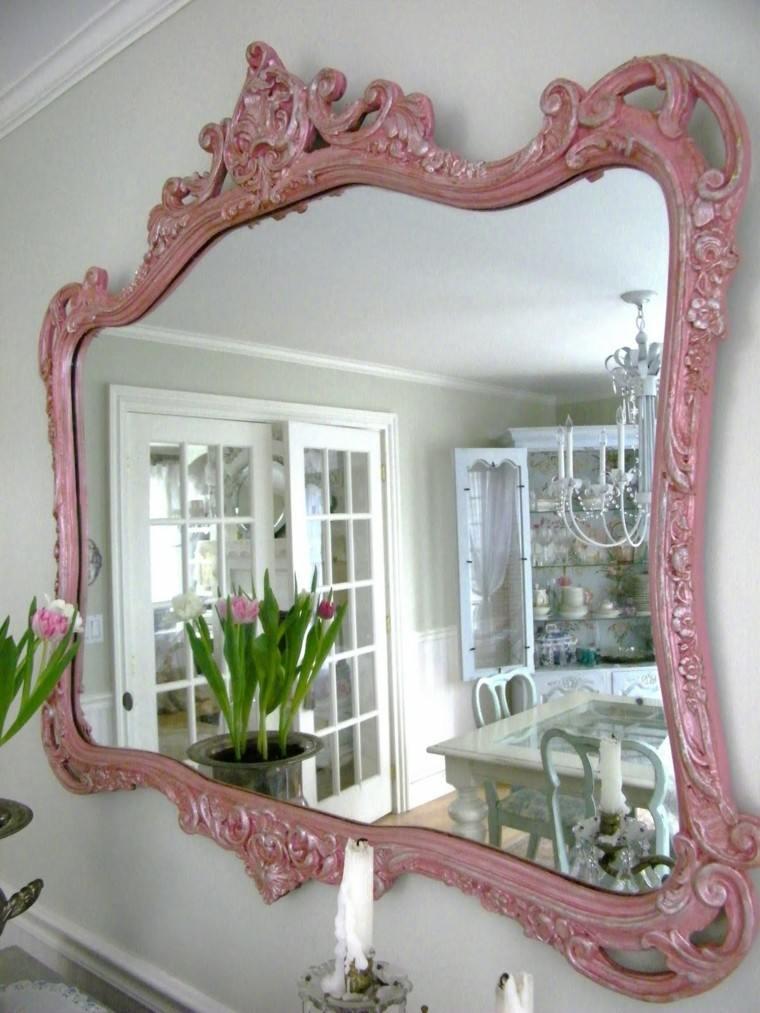 espejo vintage color rosa