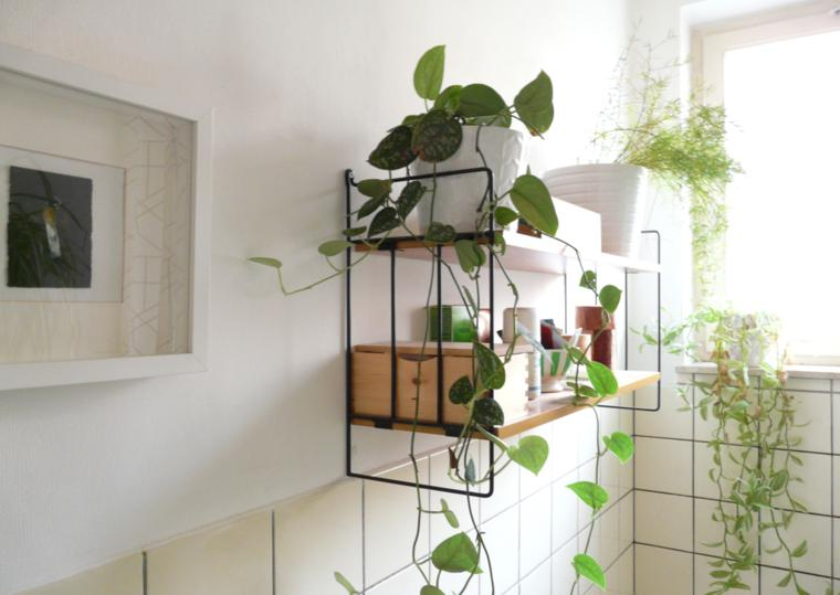 estante cuarto baño deco plantas
