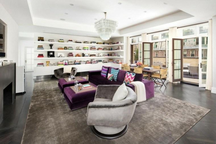 estantes blancos muebles purpura chimenea salon ideas
