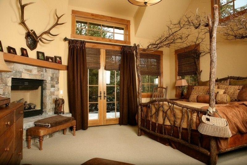 Decoracion de dormitorios rusticos - madera y piedra