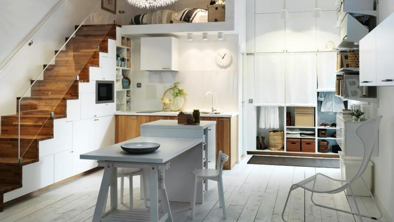 estupenda isla cocina pequeña blanca