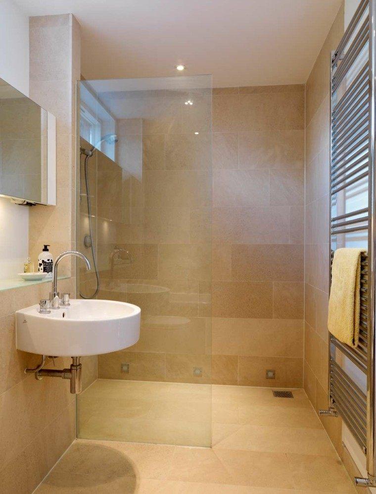 Ba os peque os con ducha 38 dise os de moda - Small bathroom ideas with tub ...