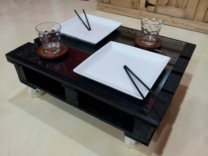 mesa pallet color negro