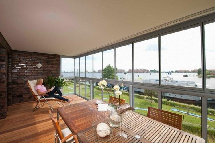 terraza acristalada con suelo de madera - Acristalar Terraza