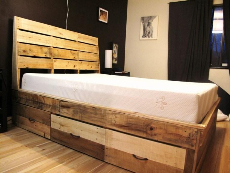 estupenda cama diseño pallet madera