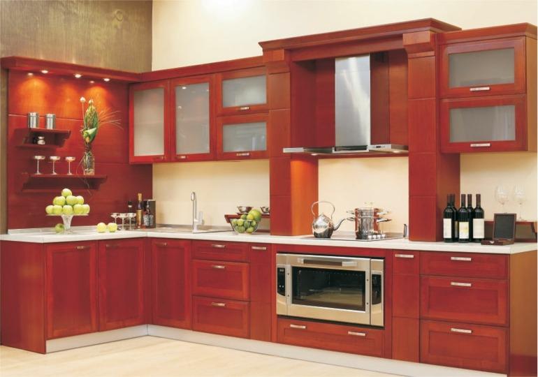 muebles cocina madera roja
