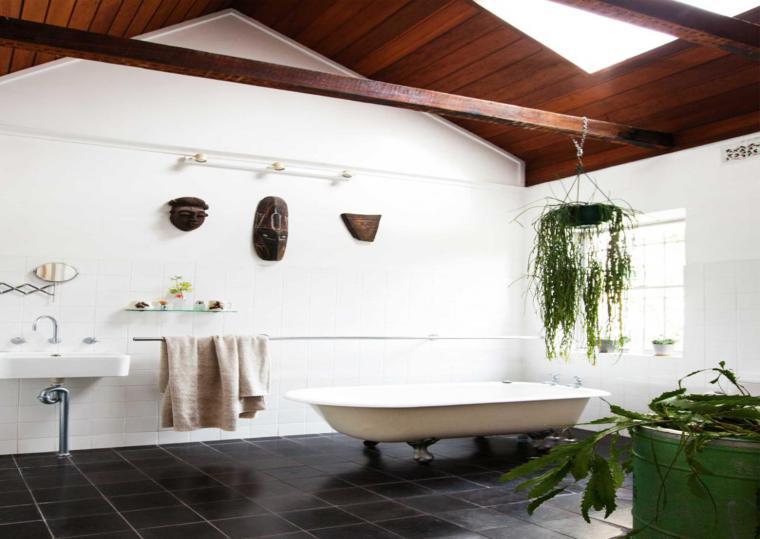 estupendo cuarto baño rustico plantas