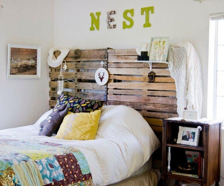 estupendo cabecero cama pallet madera