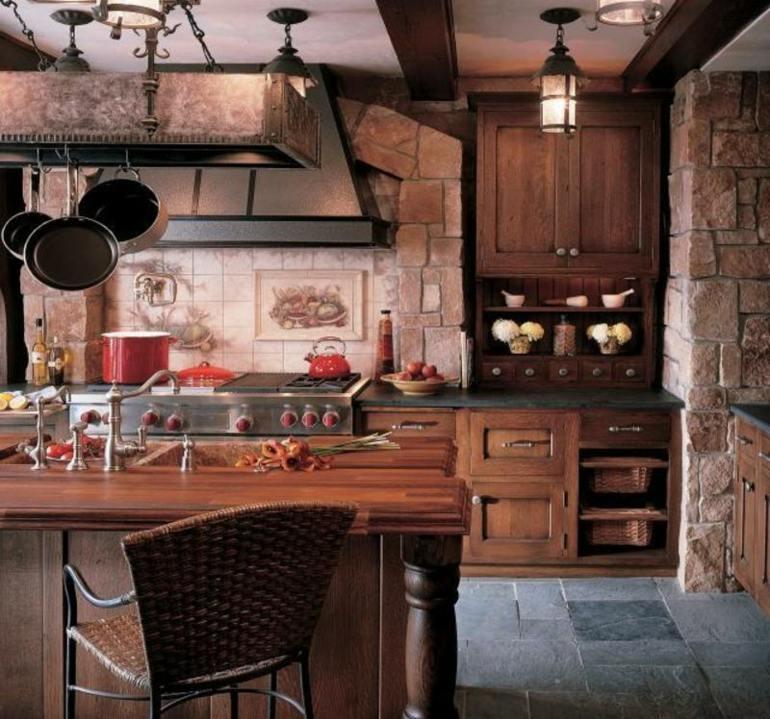 estupendo cocina madera piedra