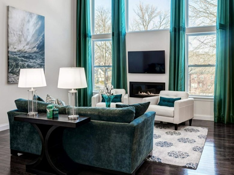estupendo salon cortinas turquesa saten