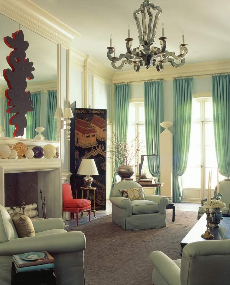 estupendo salon lujoso cortinas celeste