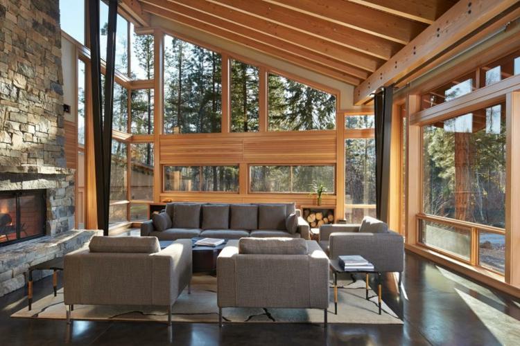 exteriores muebles casas decorado cristales maderas