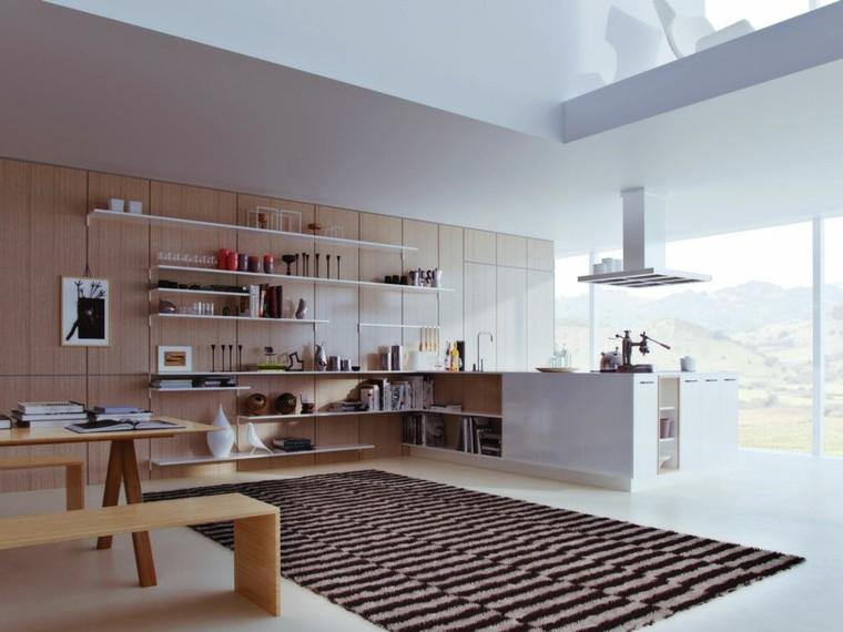 fotos de mueble de cocina isla alfombras rayas blanco