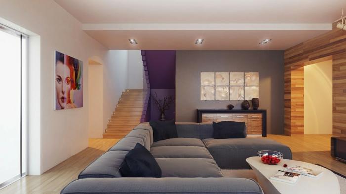 fotos de salones modernos madera paredes grises