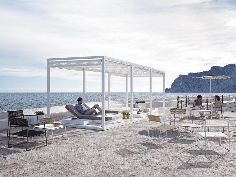 grande decoracion terraza pergola muebles blancos ideas