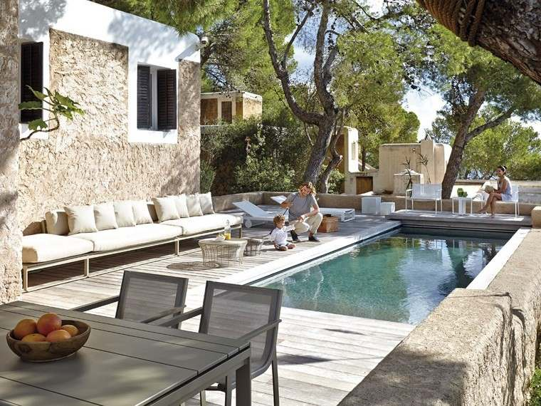 grandes decoracion terrazas piscina muebles ideas